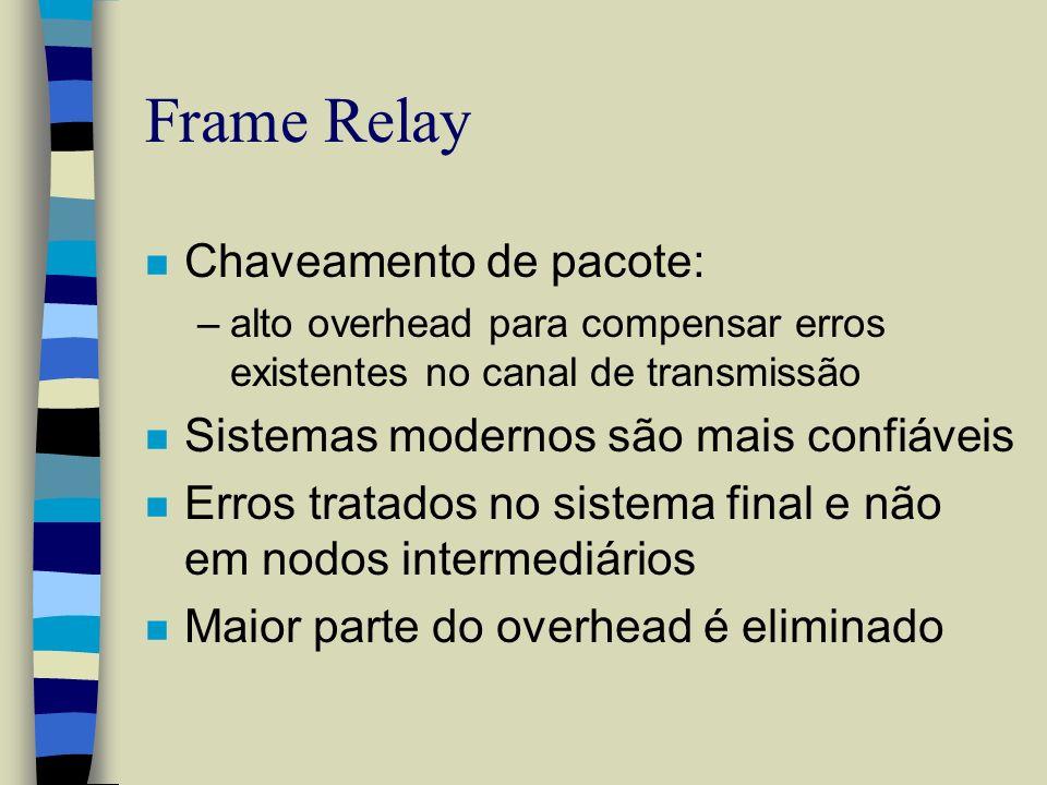 Frame Relay n Chaveamento de pacote: –alto overhead para compensar erros existentes no canal de transmissão n Sistemas modernos são mais confiáveis n