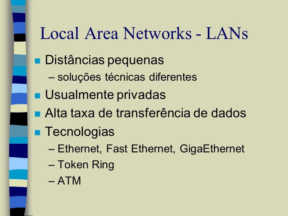 Local Area Networks - LANs n Distâncias pequenas –soluções técnicas diferentes n Usualmente privadas n Alta taxa de transferência de dados n Tecnologi