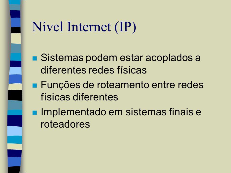Nível Internet (IP) n Sistemas podem estar acoplados a diferentes redes físicas n Funções de roteamento entre redes físicas diferentes n Implementado
