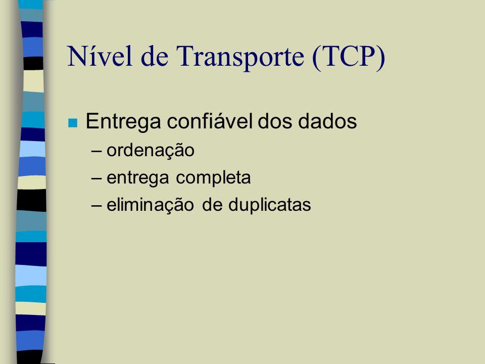 Nível de Transporte (TCP) n Entrega confiável dos dados –ordenação –entrega completa –eliminação de duplicatas