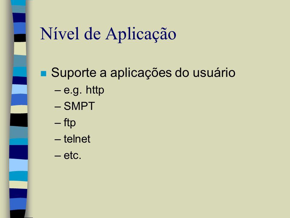 Nível de Aplicação n Suporte a aplicações do usuário –e.g. http –SMPT –ftp –telnet –etc.