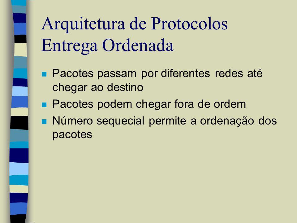 Arquitetura de Protocolos Entrega Ordenada n Pacotes passam por diferentes redes até chegar ao destino n Pacotes podem chegar fora de ordem n Número s