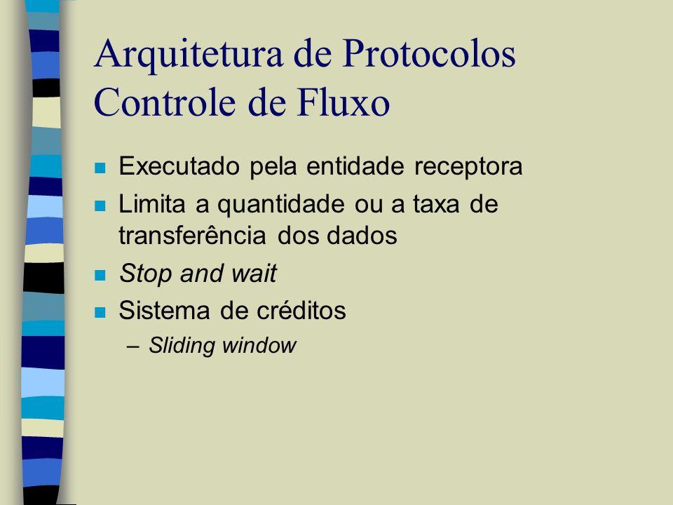 Arquitetura de Protocolos Controle de Fluxo n Executado pela entidade receptora n Limita a quantidade ou a taxa de transferência dos dados n Stop and