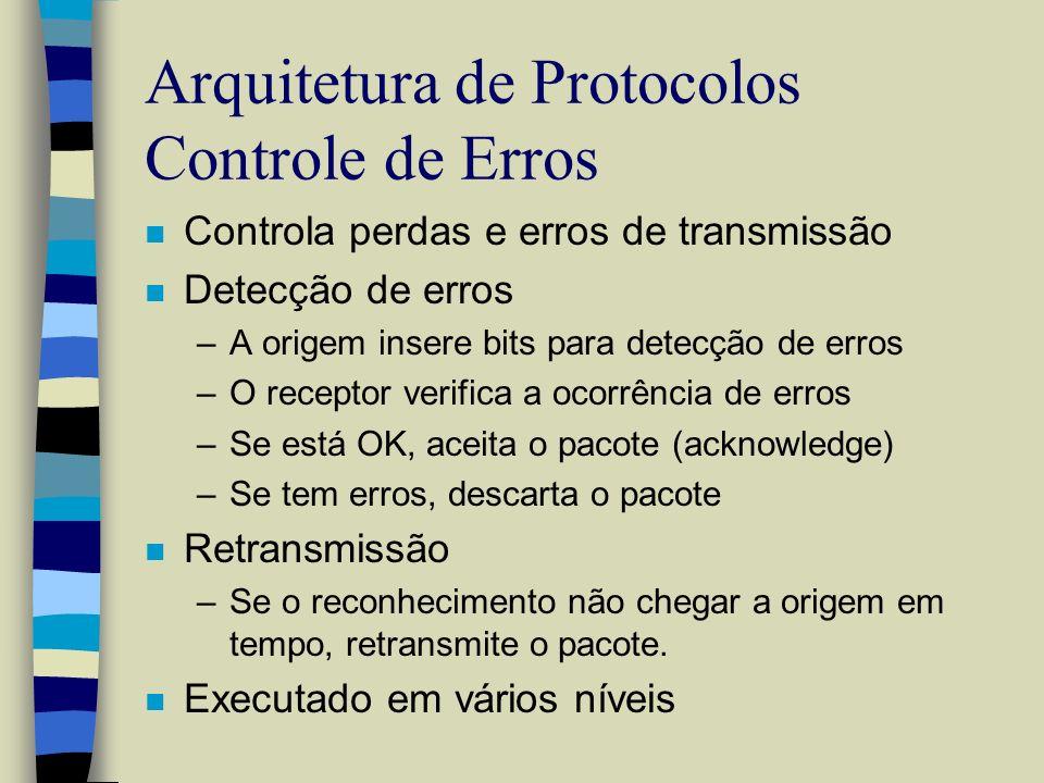 Arquitetura de Protocolos Controle de Erros n Controla perdas e erros de transmissão n Detecção de erros –A origem insere bits para detecção de erros