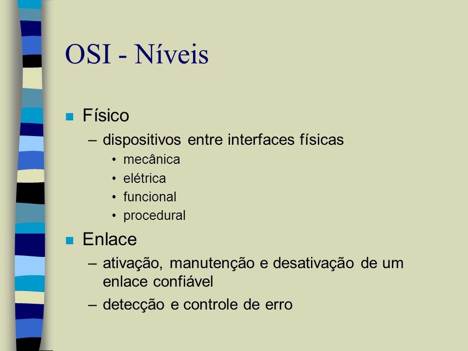 OSI - Níveis n Físico –dispositivos entre interfaces físicas mecânica elétrica funcional procedural n Enlace –ativação, manutenção e desativação de um
