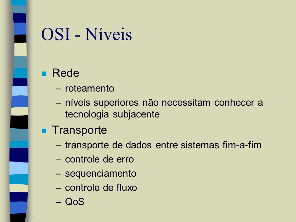 OSI - Níveis n Rede –roteamento –níveis superiores não necessitam conhecer a tecnologia subjacente n Transporte –transporte de dados entre sistemas fi