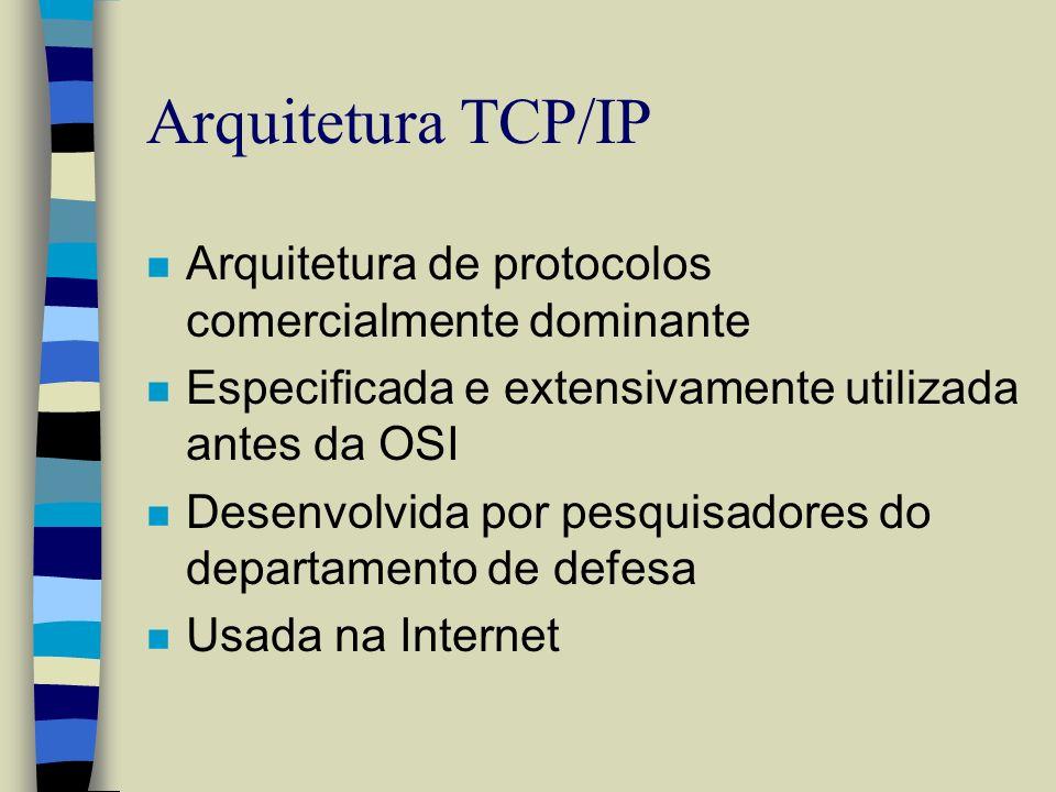 Arquitetura TCP/IP n Arquitetura de protocolos comercialmente dominante n Especificada e extensivamente utilizada antes da OSI n Desenvolvida por pesq