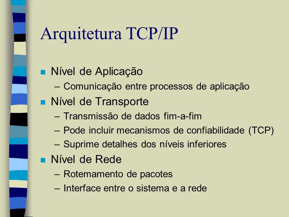 Arquitetura TCP/IP n Nível de Aplicação –Comunicação entre processos de aplicação n Nível de Transporte –Transmissão de dados fim-a-fim –Pode incluir
