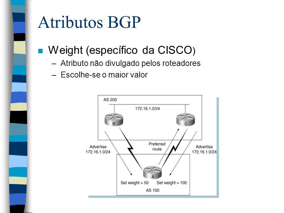 Atributos BGP n Weight (específico da CISCO ) –Atributo não divulgado pelos roteadores –Escolhe-se o maior valor