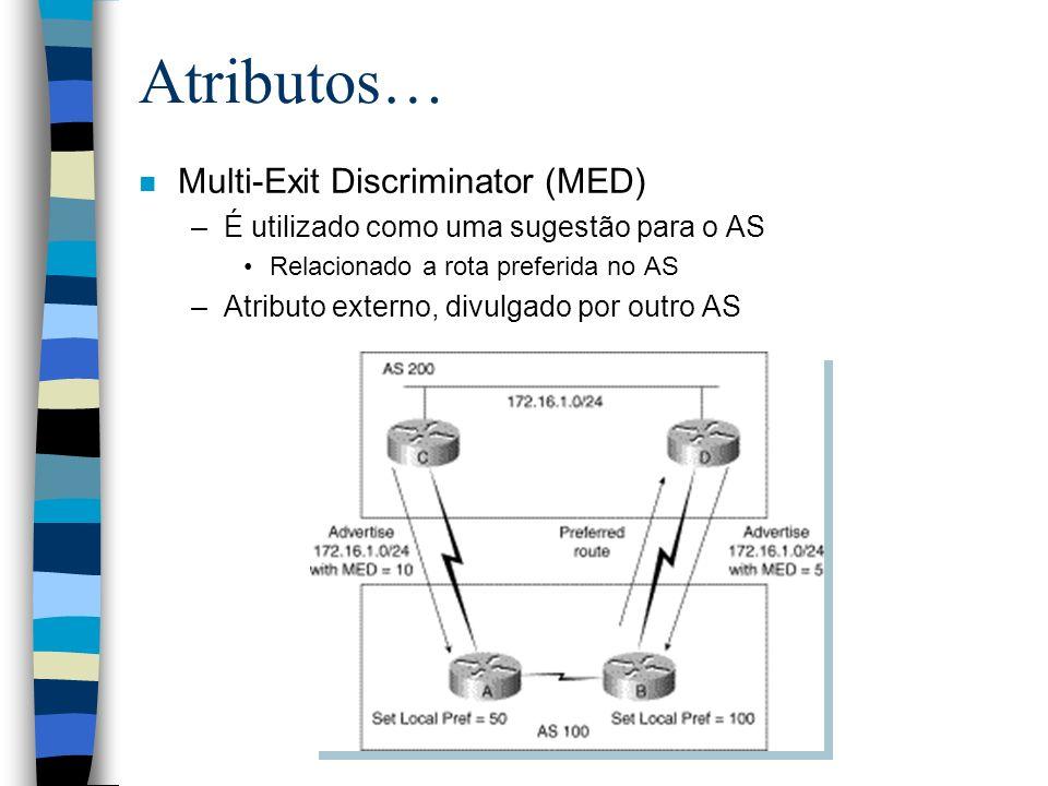 Atributos… n Multi-Exit Discriminator (MED) –É utilizado como uma sugestão para o AS Relacionado a rota preferida no AS –Atributo externo, divulgado p