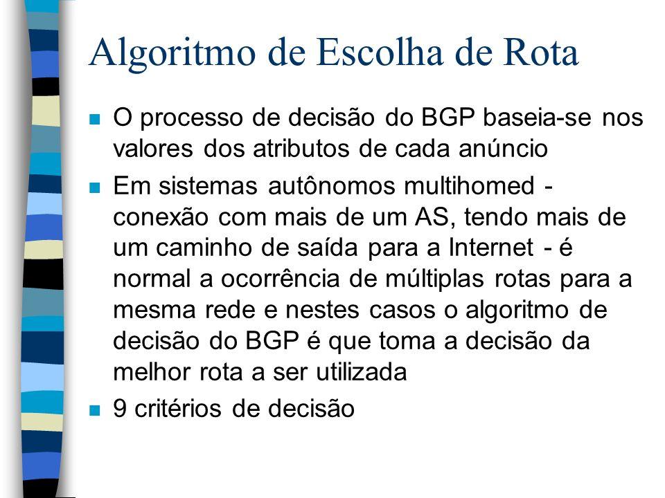 Algoritmo de Escolha de Rota n O processo de decisão do BGP baseia-se nos valores dos atributos de cada anúncio n Em sistemas autônomos multihomed - c