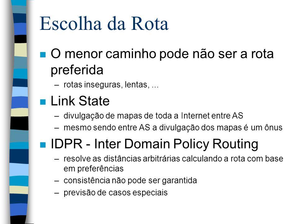 Escolha da Rota n O menor caminho pode não ser a rota preferida –rotas inseguras, lentas,... n Link State –divulgação de mapas de toda a Internet entr