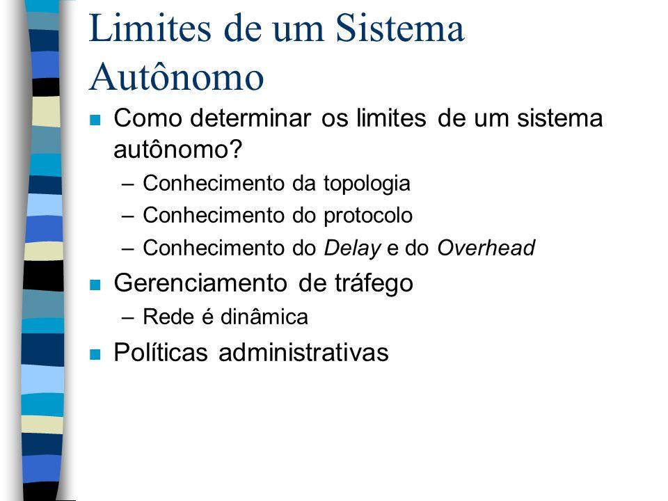 Limites de um Sistema Autônomo n Como determinar os limites de um sistema autônomo? –Conhecimento da topologia –Conhecimento do protocolo –Conheciment