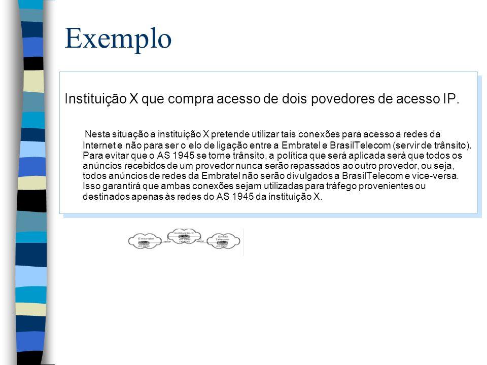 Exemplo Instituição X que compra acesso de dois povedores de acesso IP. Nesta situação a instituição X pretende utilizar tais conexões para acesso a r