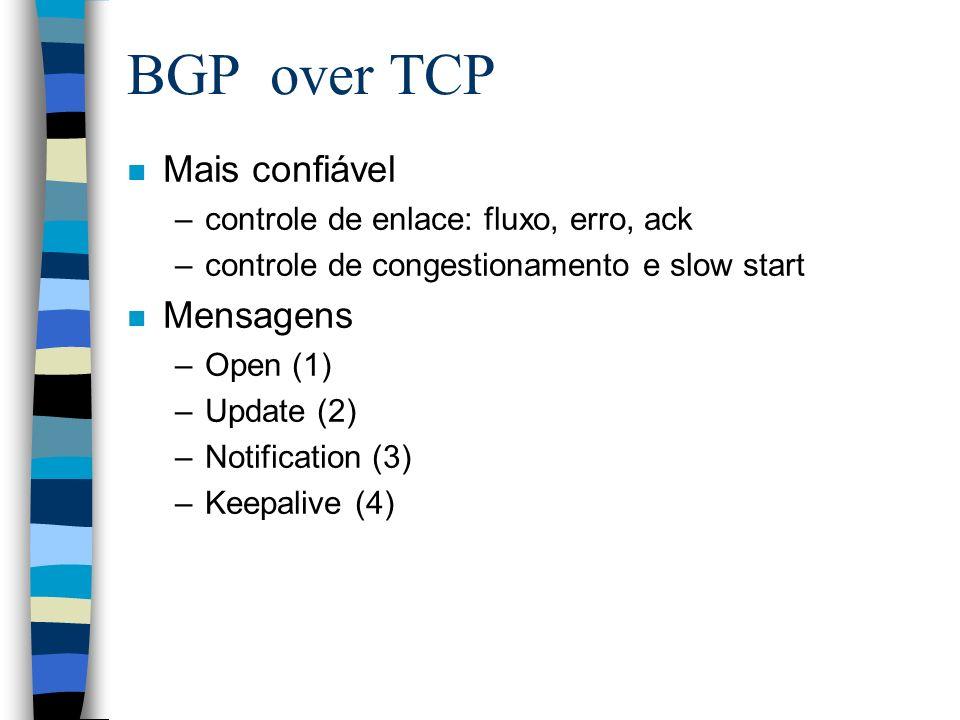 BGP over TCP n Mais confiável –controle de enlace: fluxo, erro, ack –controle de congestionamento e slow start n Mensagens –Open (1) –Update (2) –Noti