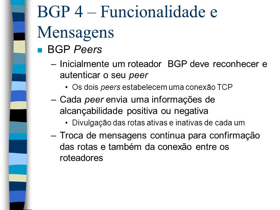 BGP 4 – Funcionalidade e Mensagens n BGP Peers –Inicialmente um roteador BGP deve reconhecer e autenticar o seu peer Os dois peers estabelecem uma con