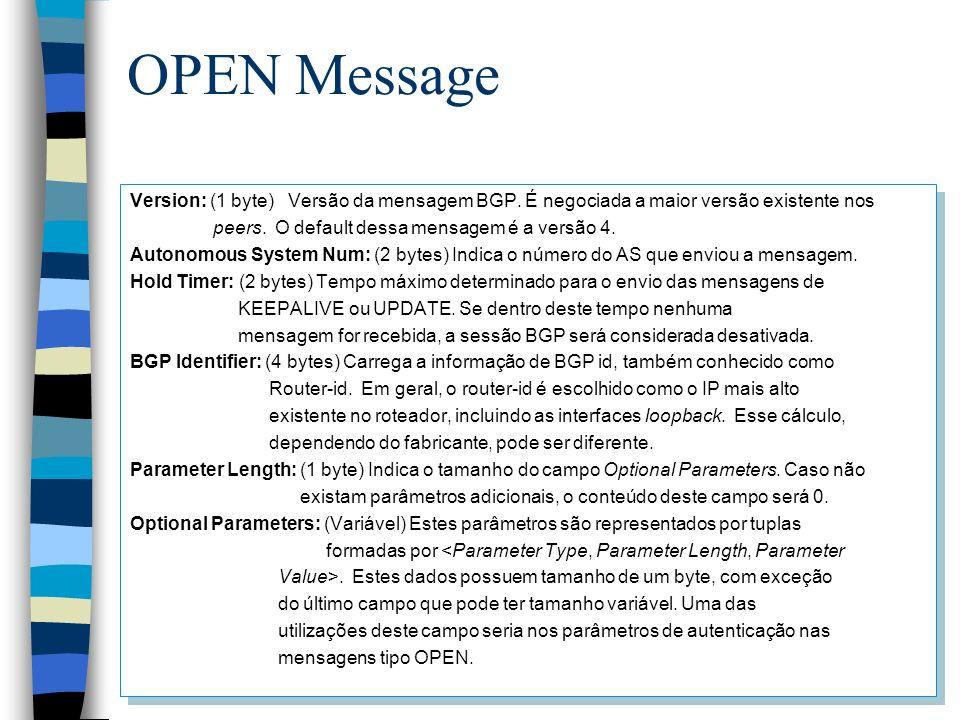 OPEN Message Version: (1 byte) Versão da mensagem BGP. É negociada a maior versão existente nos peers. O default dessa mensagem é a versão 4. Autonomo