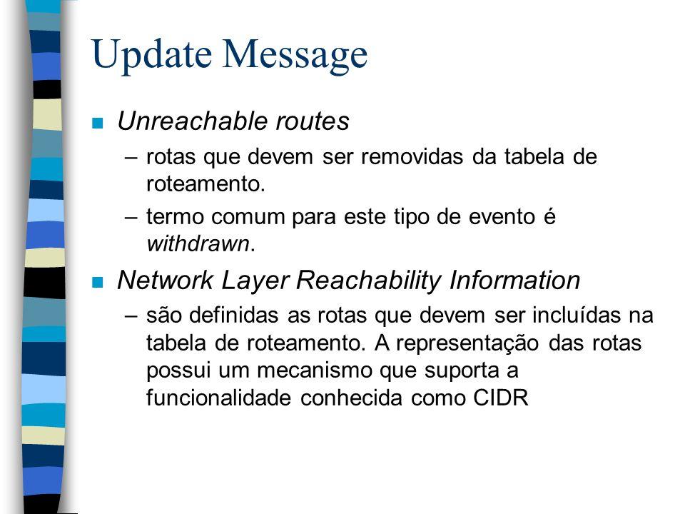 Update Message n Unreachable routes –rotas que devem ser removidas da tabela de roteamento. –termo comum para este tipo de evento é withdrawn. n Netwo