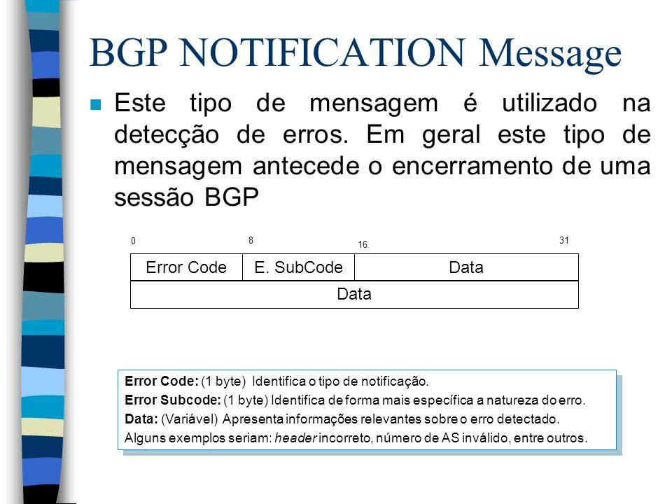 BGP NOTIFICATION Message n Este tipo de mensagem é utilizado na detecção de erros. Em geral este tipo de mensagem antecede o encerramento de uma sessã