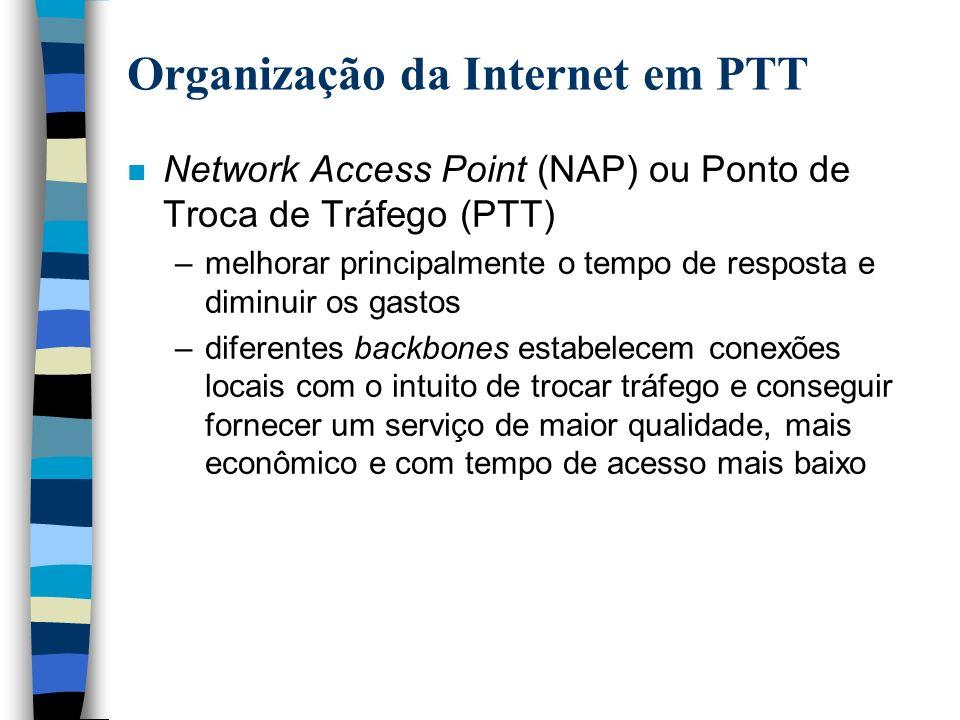 Organização da Internet em PTT n Network Access Point (NAP) ou Ponto de Troca de Tráfego (PTT) –melhorar principalmente o tempo de resposta e diminuir