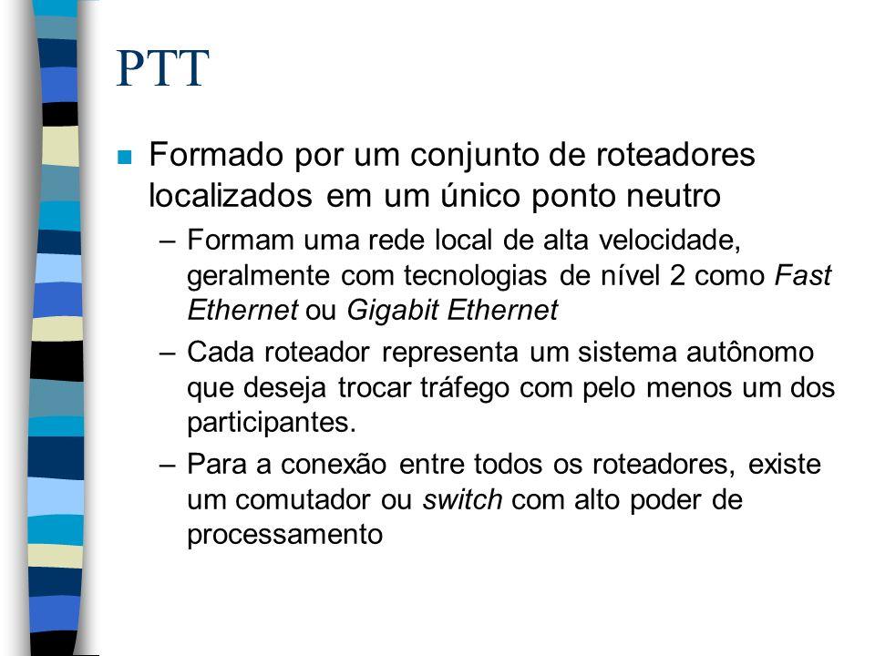 PTT n Formado por um conjunto de roteadores localizados em um único ponto neutro –Formam uma rede local de alta velocidade, geralmente com tecnologias