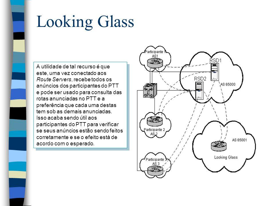 Looking Glass A utilidade de tal recurso é que este, uma vez conectado aos Route Servers, recebe todos os anúncios dos participantes do PTT e pode ser