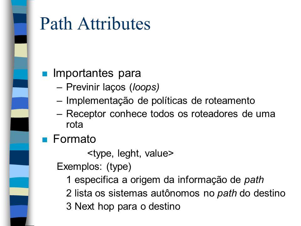 Path Attributes n Importantes para –Previnir laços (loops) –Implementação de políticas de roteamento –Receptor conhece todos os roteadores de uma rota