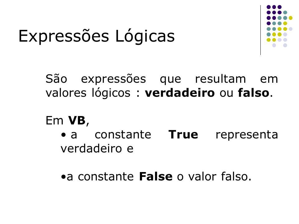 Expressões Lógicas São expressões que resultam em valores lógicos : verdadeiro ou falso. Em VB, a constante True representa verdadeiro e a constante F