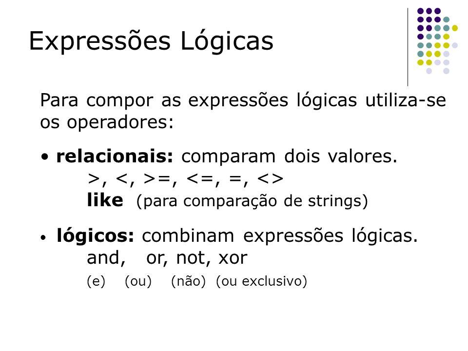 Expressões Lógicas Para compor as expressões lógicas utiliza-se os operadores: relacionais: comparam dois valores. >, =, like (para comparação de stri