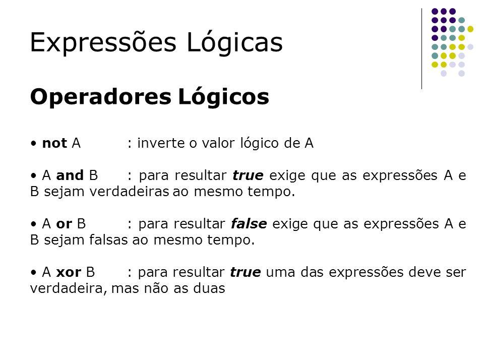 Operadores Lógicos not A: inverte o valor lógico de A A and B: para resultar true exige que as expressões A e B sejam verdadeiras ao mesmo tempo. A or