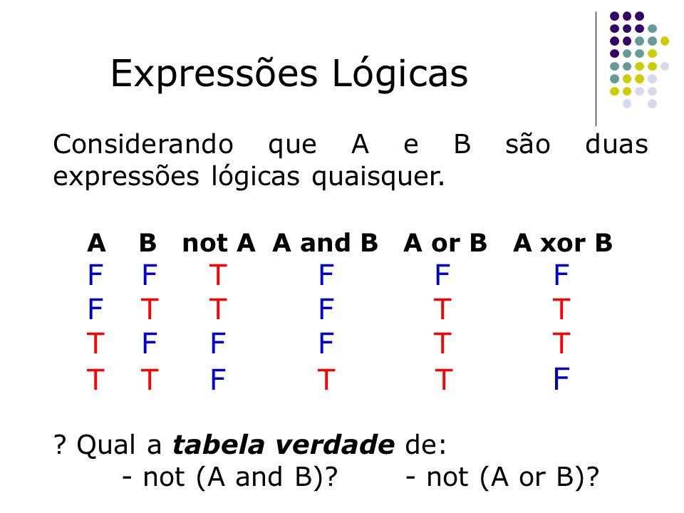 Considerando que A e B são duas expressões lógicas quaisquer. A B not A A and B A or B A xor B F F T F F F F T T T F F F T T T T F ? Qual a tabela ver