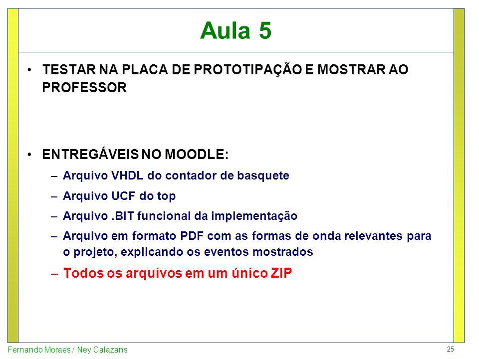 25 Fernando Moraes / Ney Calazans Aula 5 TESTAR NA PLACA DE PROTOTIPAÇÃO E MOSTRAR AO PROFESSOR ENTREGÁVEIS NO MOODLE: –Arquivo VHDL do contador de ba