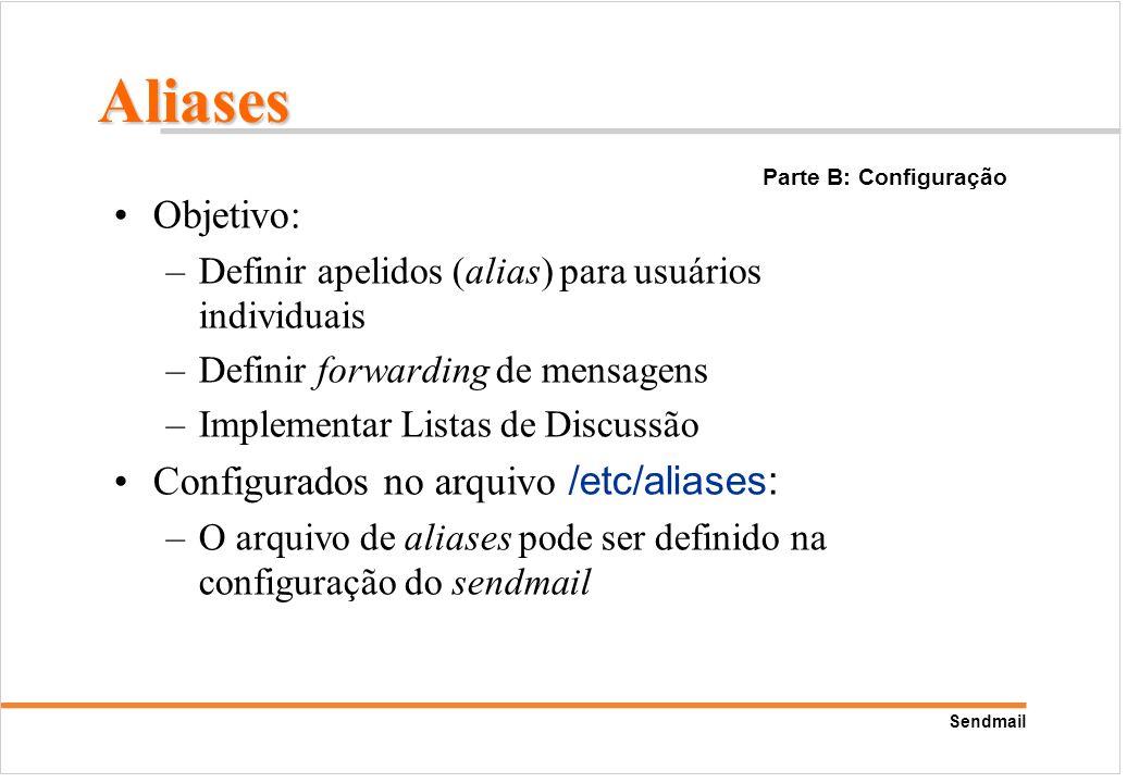 Sendmail Objetivo: –Definir apelidos (alias) para usuários individuais –Definir forwarding de mensagens –Implementar Listas de Discussão Configurados