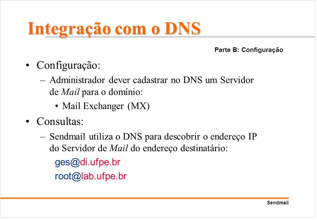 Sendmail Configuração: –Administrador dever cadastrar no DNS um Servidor de Mail para o domínio: Mail Exchanger (MX) Consultas: –Sendmail utiliza o DN