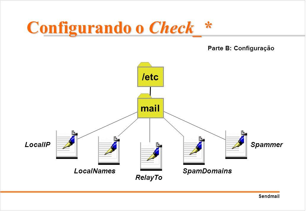 Sendmail mail /etc LocalIP LocalNames RelayTo SpamDomains Spammer Parte B: Configuração Configurando o Check_*