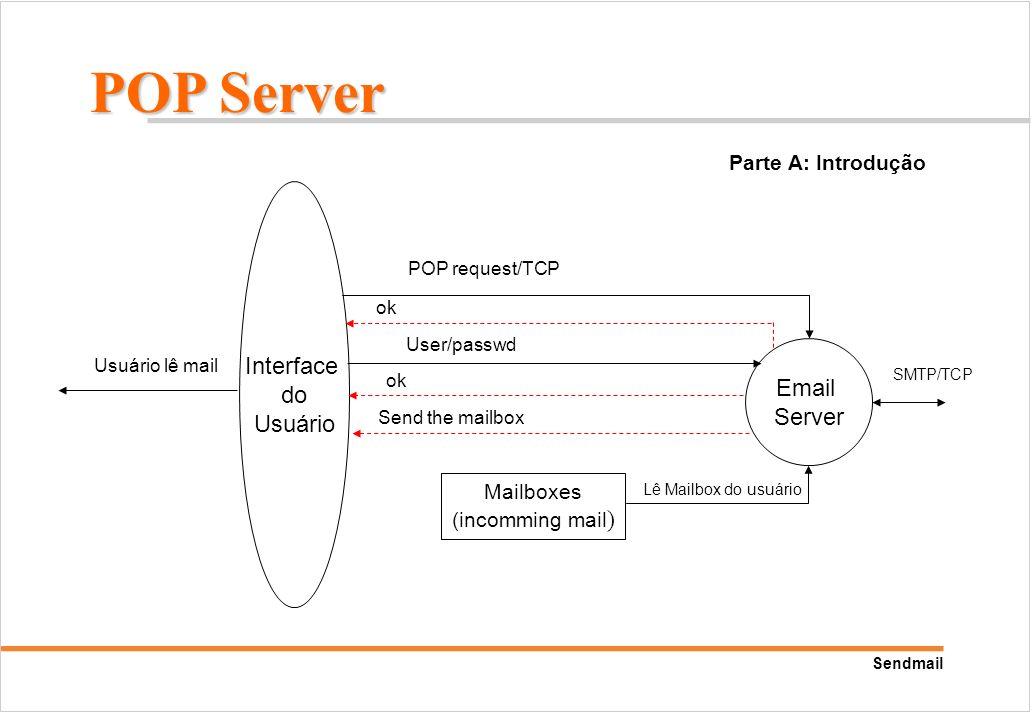 Sendmail Interface do Usuário Usuário lê mail Mailboxes (incomming mail ) Email Server Lê Mailbox do usuário POP Server SMTP/TCP POP request/TCP User/