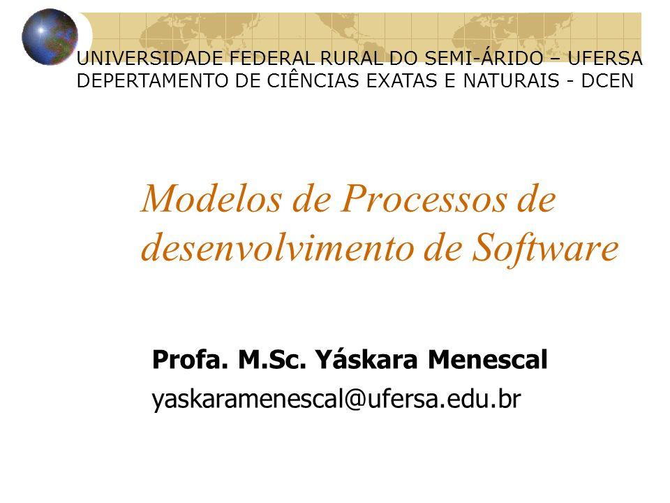 Modelos de Processos de desenvolvimento de Software UNIVERSIDADE FEDERAL RURAL DO SEMI-ÁRIDO – UFERSA DEPERTAMENTO DE CIÊNCIAS EXATAS E NATURAIS - DCE