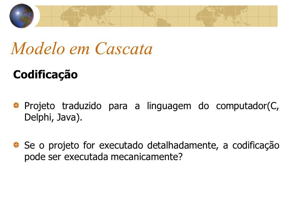 Modelo em Cascata Codificação Projeto traduzido para a linguagem do computador(C, Delphi, Java). Se o projeto for executado detalhadamente, a codifica