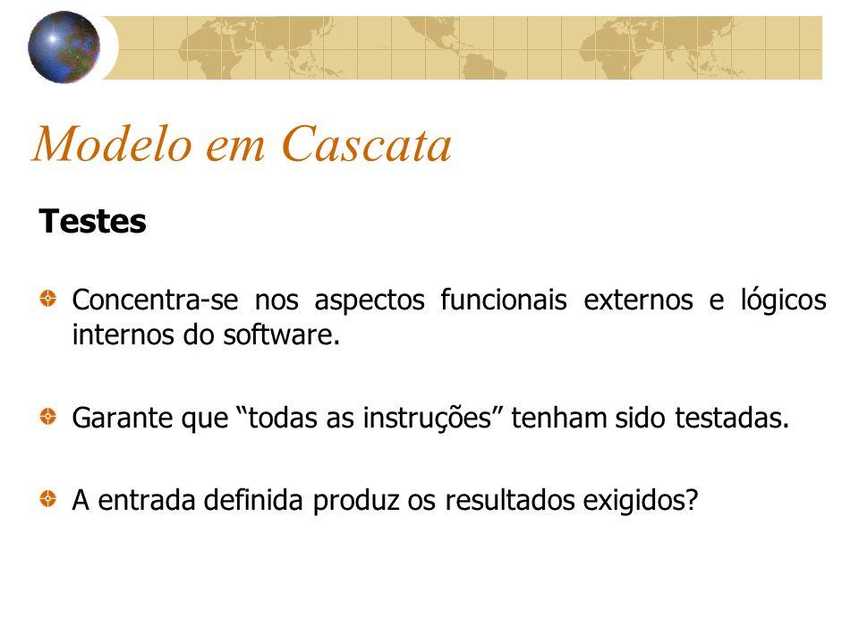 Modelo em Cascata Testes Concentra-se nos aspectos funcionais externos e lógicos internos do software. Garante que todas as instruções tenham sido tes