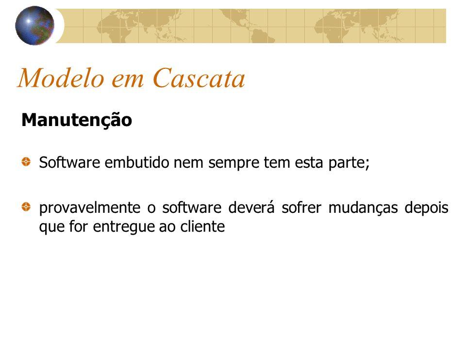 Modelo em Cascata Manutenção Software embutido nem sempre tem esta parte; provavelmente o software deverá sofrer mudanças depois que for entregue ao c