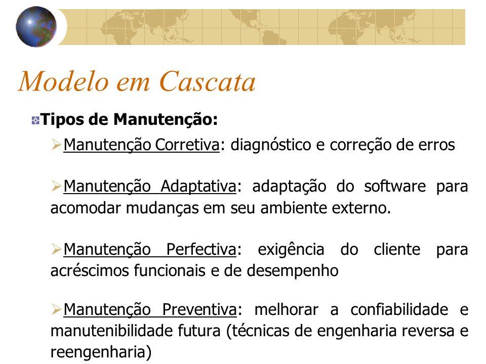 Modelo em Cascata Tipos de Manutenção: Manutenção Corretiva: diagnóstico e correção de erros Manutenção Adaptativa: adaptação do software para acomoda