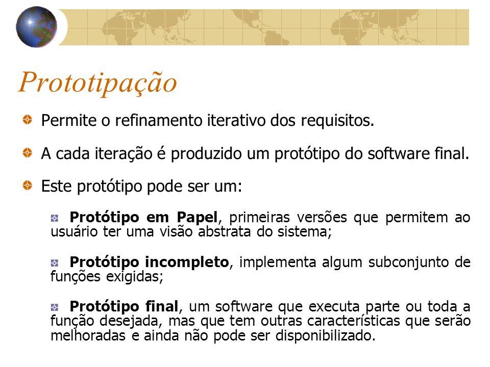 Prototipação Permite o refinamento iterativo dos requisitos. A cada iteração é produzido um protótipo do software final. Este protótipo pode ser um: P