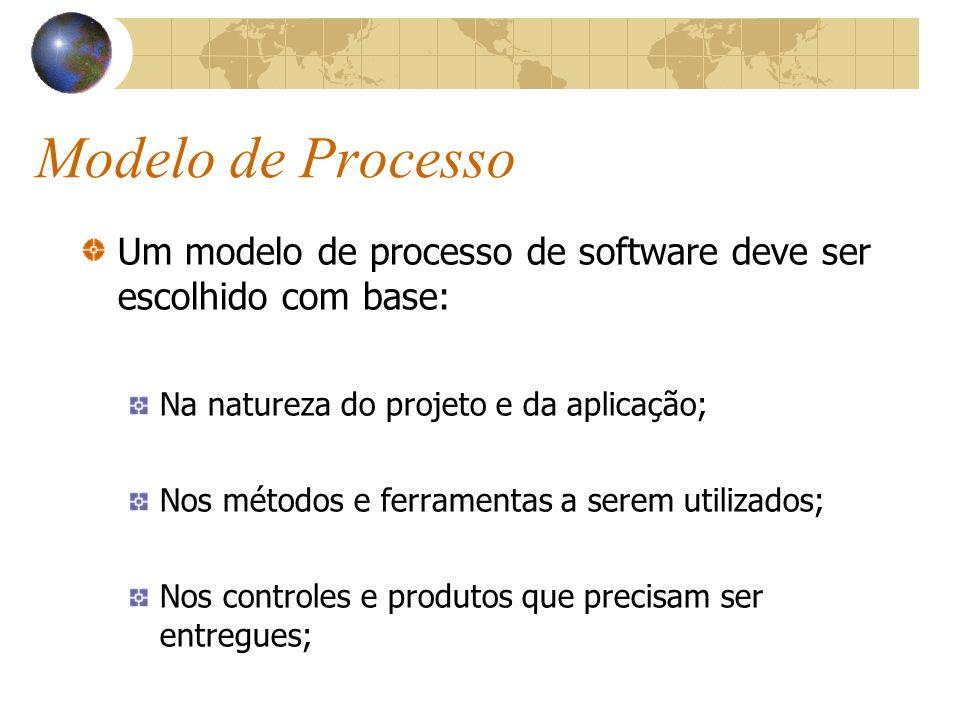 Modelo de Processo Um modelo de processo de software deve ser escolhido com base: Na natureza do projeto e da aplicação; Nos métodos e ferramentas a s