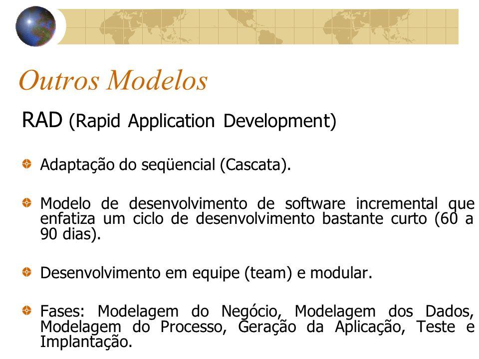 Outros Modelos RAD (Rapid Application Development) Adaptação do seqüencial (Cascata). Modelo de desenvolvimento de software incremental que enfatiza u
