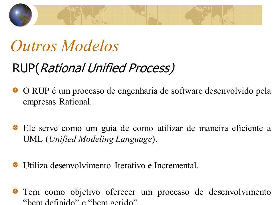 Outros Modelos RUP(Rational Unified Process) O RUP é um processo de engenharia de software desenvolvido pela empresas Rational. Ele serve como um guia