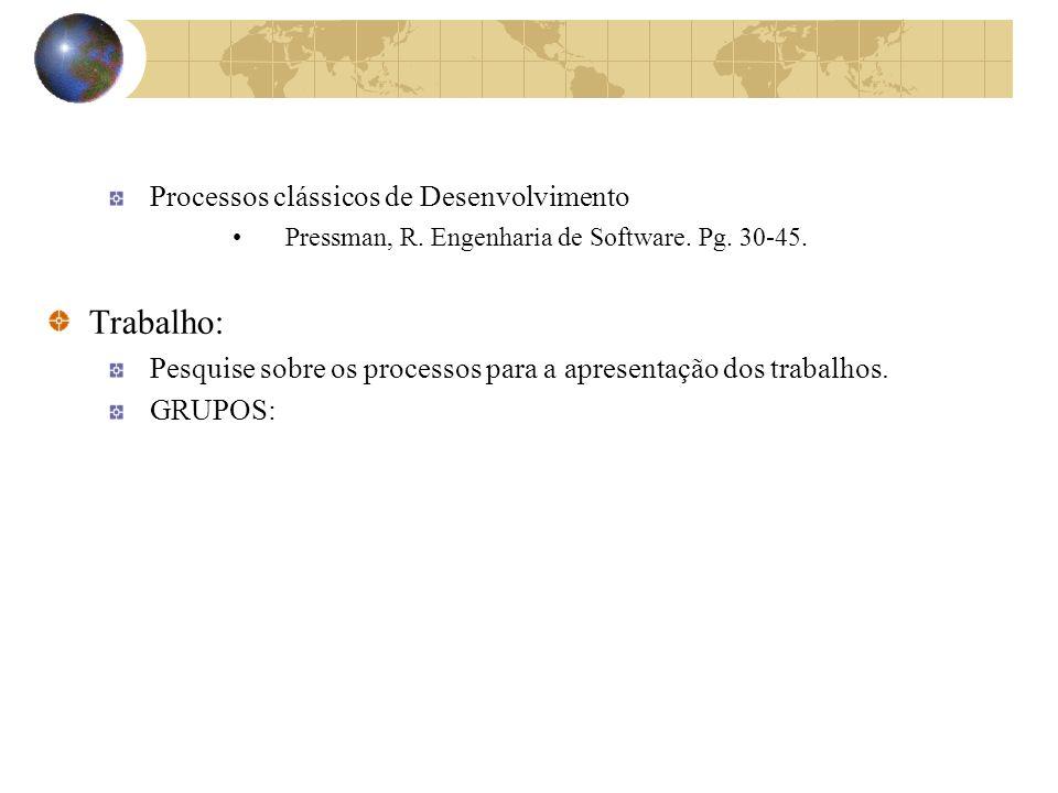 Processos clássicos de Desenvolvimento Pressman, R. Engenharia de Software. Pg. 30-45. Trabalho: Pesquise sobre os processos para a apresentação dos t