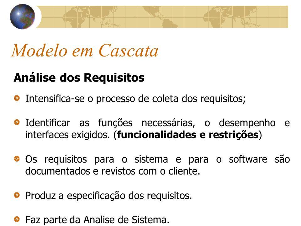 Modelo em Cascata Análise dos Requisitos Intensifica-se o processo de coleta dos requisitos; Identificar as funções necessárias, o desempenho e interf