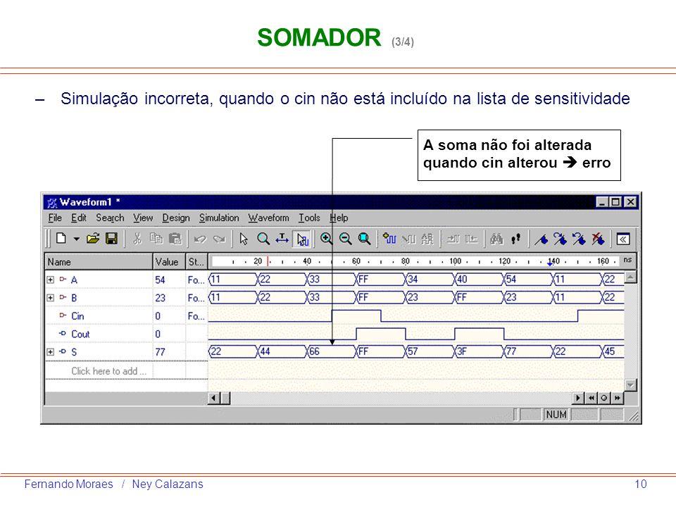 10Fernando Moraes / Ney Calazans –Simulação incorreta, quando o cin não está incluído na lista de sensitividade A soma não foi alterada quando cin alt