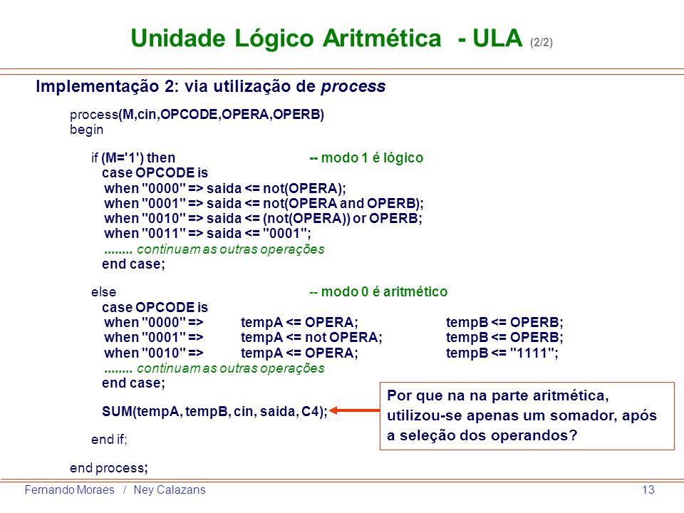 13Fernando Moraes / Ney Calazans process(M,cin,OPCODE,OPERA,OPERB) begin if (M='1') then -- modo 1 é lógico case OPCODE is when