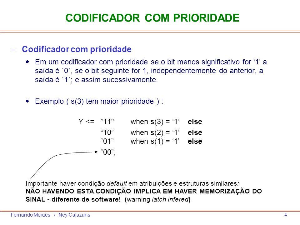 5Fernando Moraes / Ney Calazans DECODIFICADOR –O decodificador é utilizado basicamente para acionar uma saída em função de um determinado endereço –Mesma construção que o codificador –Exemplo para um decodificador 3 8 with endereço select saída <= 00000001 when 000 , 00000010 when 001 , 00000100 when 010 , 00001000 when 011 , 00010000 when 100 , 00100000 when 101 , 01000000 when 110 , 10000000 when 111 ;